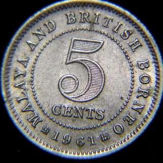 1961年馬來亞及英屬北婆羅洲5仙鎳幣(英女皇伊莉莎伯二世像,好品)