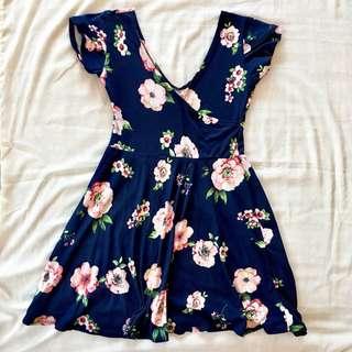 Navy Blue Overlap Dress