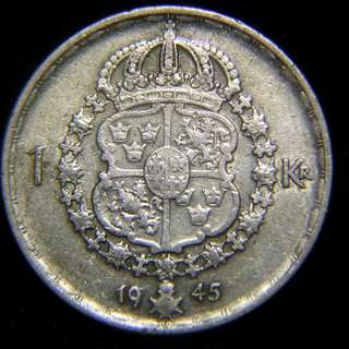 1945年瑞典王國(Kingdom of Sweden)皇家國徽1克郎銀幣(瑞皇古斯塔夫五世像)