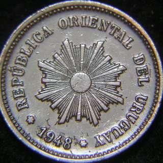 1948年烏拉圭大太陽花飾5仙銅幣.