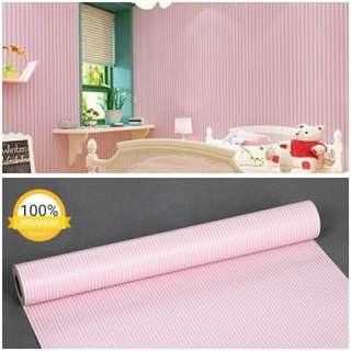 Grosir murah wallpaper sticker dinding indah garis putih pink