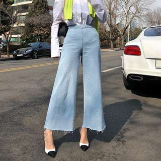 【H.BANDWAGON】韓國水洗藍毛鬚不修邊側釦包臀寬管闊腿喇叭褲 牛仔褲