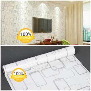 Grosir murah wallpaper sticker dinding indah putih kotak abu abu