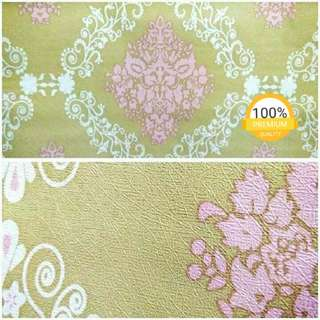 Grosir murah wallpaper sticker dinding indah hijau batik pink