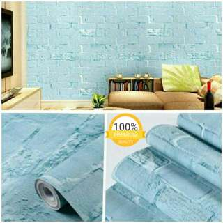 Grosir murah wallpaper sticker dinding indah biru ice