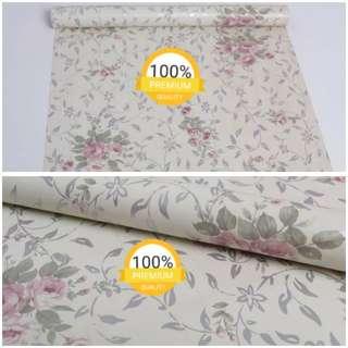 Grosir murah wallpaper sticker dinding indah putih bunga mawar merah daun kecil