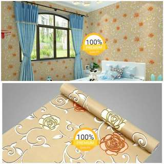 Grosir murah wallpaper sticker dinding indah coklat bunga mawar merah putih