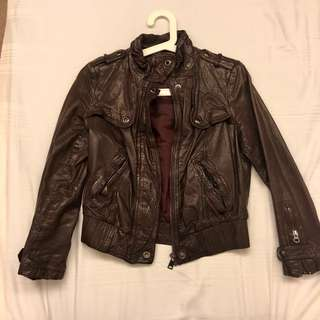 Dmop Leather Dark Burgundy Jacket Small