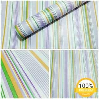 Grosir murah walpaper sticker dinding indah garis ungu hijau putih kuning