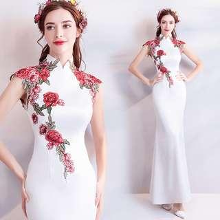 2018天使嫁衣禮服新款 超仙氣質收腰女神範白色旗袍 晚宴演出禮服