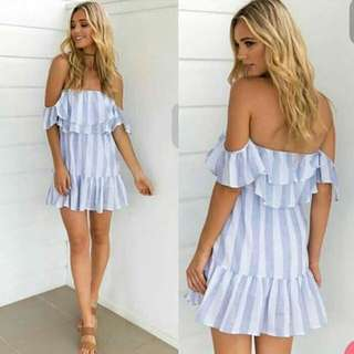 Striped Summer Dress (Off Shoulder)