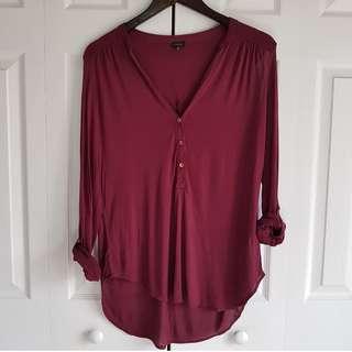 Aritzia t.babaton Maroon Long-sleeve Shirt