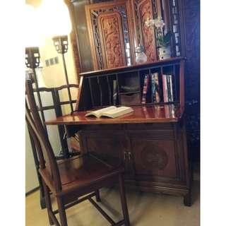 古典緬甸花梨木書柜及椅一套