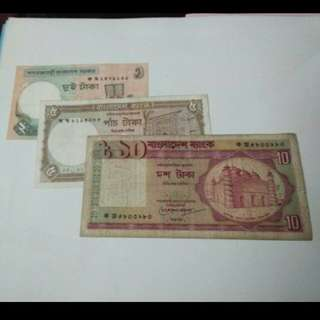💱3Pcs Old Oversea Banknotes