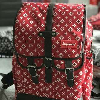 Lv Bagpack - Supreme (Wine Red)