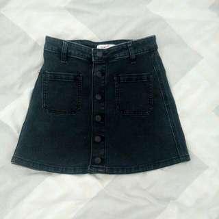 Supre Button Up Black Denim Skirt