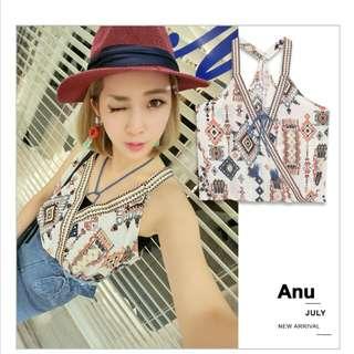 轉賣全新 Anu民族風幾何織帶刺繡背心