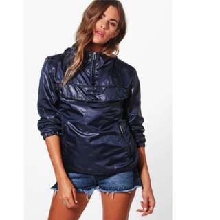 Boohoo Windbreaker Rain Coat Mac Jacket Spray Waterproof Hoodie Overhead S 6 8