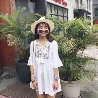 刺繡流蘇棉麻連衣裙