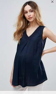 Mamalicious Maternity Swing Top with Crochet Trim
