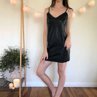 Glassons black leather dress with flower detailing
