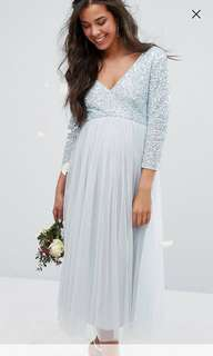 BNWT Maya Maternity 3/4 Sleeve Midi Dress with Delicate Sequin and Tulle Skirt