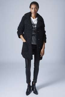 Black teddy bear pea coat from TOPSHOP