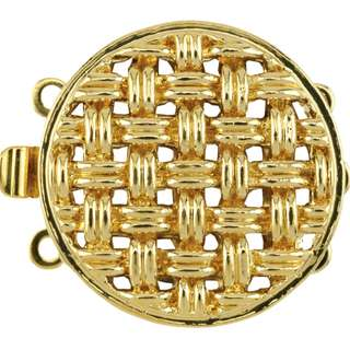 🚚 BEADALON Upper Clasp Findings, Round Weave Large 3 Strand (Gold Plated)