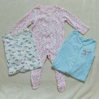 EUC Mothercare Set of 3 Sleepsuit