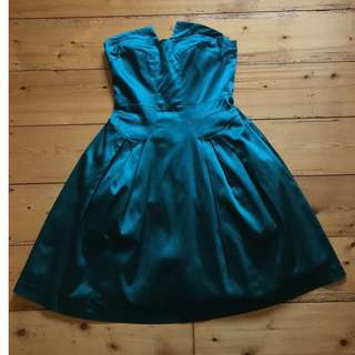 Cue Emerald Green Formal Strapless Dress Size 8 Excellent Condition