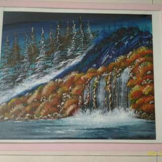 Oil Painting - Winter mountain and Spring River (冬季春颂)
