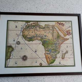 framed map of old routes by Magellan & Vasco da Gama