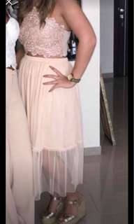 Zara cream chiffon layered maxi skirt size S