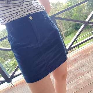 Blue corduory skirt