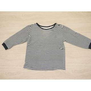 二手童裝/ 藍白條紋長袖T恤