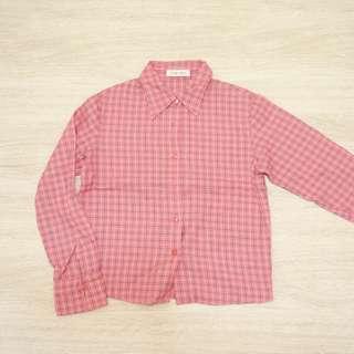 全新童裝/ 粉色格紋長袖襯衫