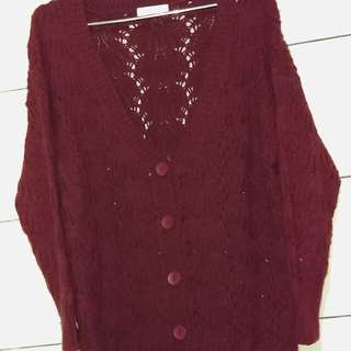 針織網狀長版外套
