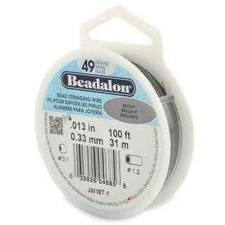 🚚 BEADALON 49-Strand Bead Stringing Wire, 0.013-Inch, Bright, 100-Feet