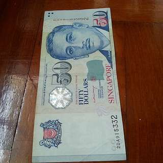 Print error. Protrait $50 LHL MAS note 1pcs.