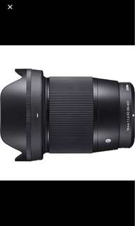 Sigma 16mm f/1.4 DC DN Contemporary Lens for Sony E and m4/3 mount