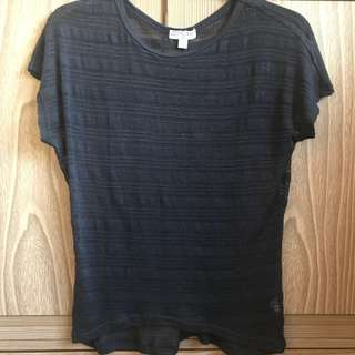Cotton On Seethrough Knit Top Navy Blue