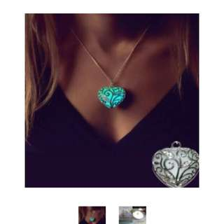ELEGANT GLOW IN THE DARK HEART NECKLACE