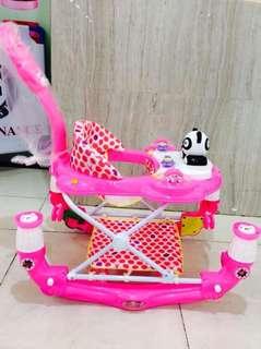 3 in 1 Panda Pink Baby Walker/Rocker/Stroller
