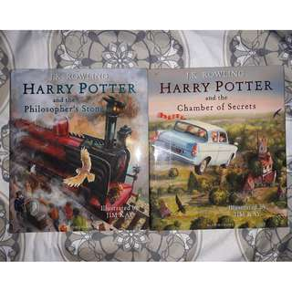 Harry Potter UK Illustrated Edition (Philosopher's Stone and Chamber of Secret) SOLD AS SET