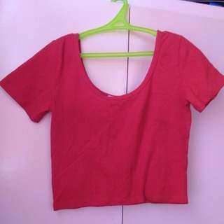 Forever21 plain red cropped top