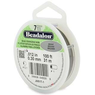 Beadalon 7-Strand Bead Stringing Wire, 0.012-Inch, Bright, 100-Feet
