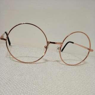 玫瑰金圓框眼鏡