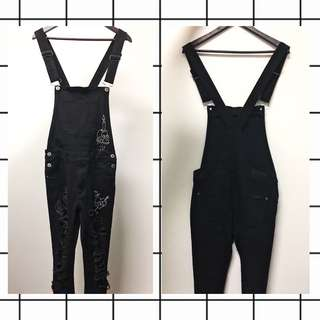 liquor n poker black skinny dungarees with doodles