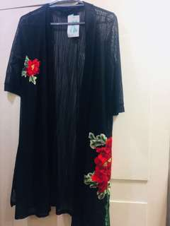 Brand New Stripes Long Cardigan/Cover up with Embroidered Red Roses