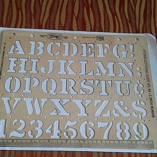 VTG 1950's Stenso One Inch Roman Letters and Numbers Lettering Guide #44